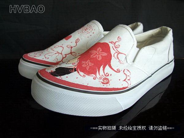 个性 女孩 帆布鞋/绘宝HVBAO 手绘儿童帆布鞋个性涂鸦童鞋时髦女孩女童鞋