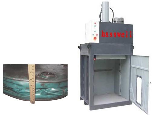 供应油桶压扁机 广东珠海,小型油桶压扁机,液压油桶压扁机图片
